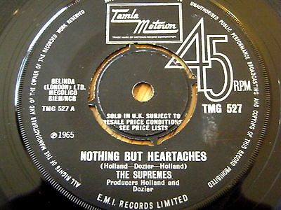"""THE SUPREMES - NOTHING BUT HEARTACHES  7"""" VINYL  'Listen' (TMG 527)"""