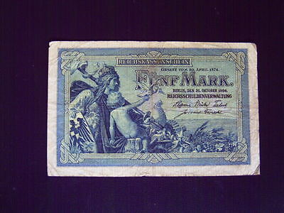 GERMANY 5 Mark issued 31.10.1904  P 8a