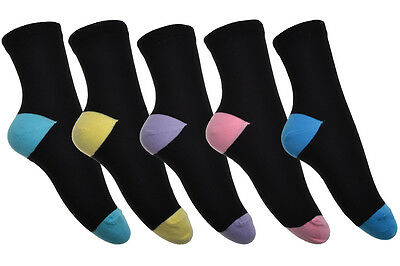 5 pairs of Cotton Rich Black Ladies Socks