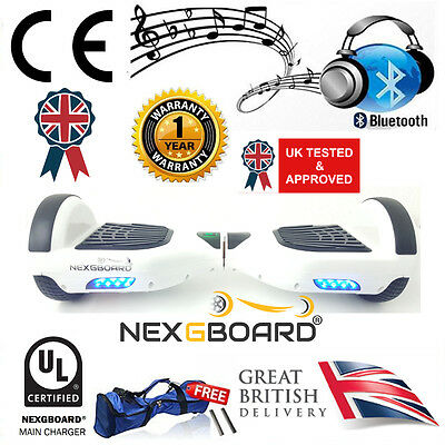 """White 6.5"""" Hoverboard Swegway + Bluetooth Speaker & UL CE Approved Charger"""