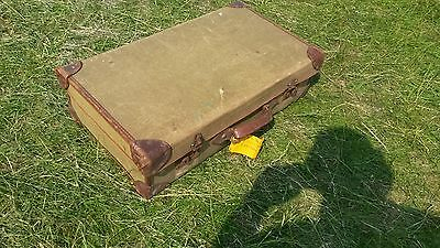 Canvas and leather suitcase c.1940