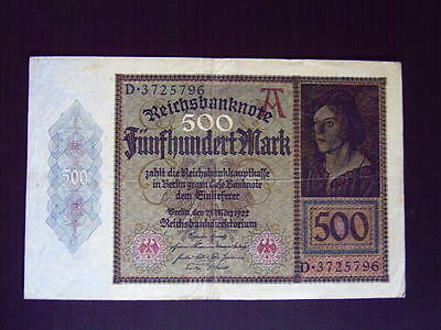 GERMANY 500 Mark issued 23.03.1922  P 73