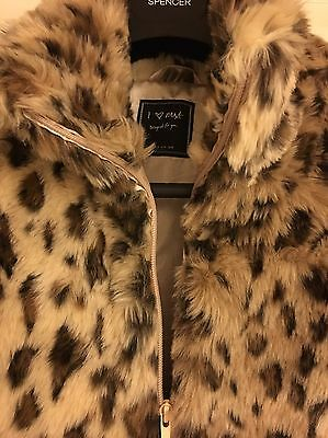 Bnwot Girls Next Leopard Print Faux Fur Gilet Age 15-16 Years