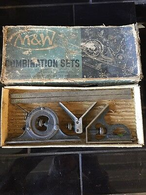 Vintage Combination Set Square Protractor Centre Finder Moore & Wright M&w