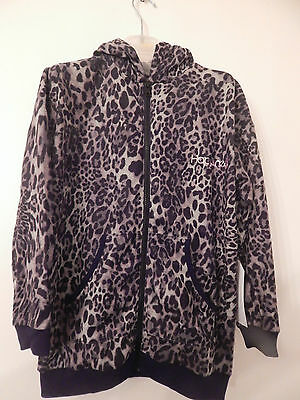 Bnwt Happiness 10 Soft Leopard Hoody Age 7-12 Long 100% Cotton Generous Size