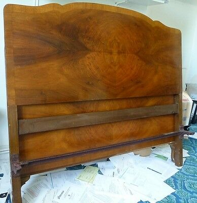 Antique Walnut Double Bed Vintage with Full Sprung Base Art Deco/Victorian