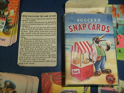 1940's 'Success' Animal Snap Cards Lovely vintage game with instructions
