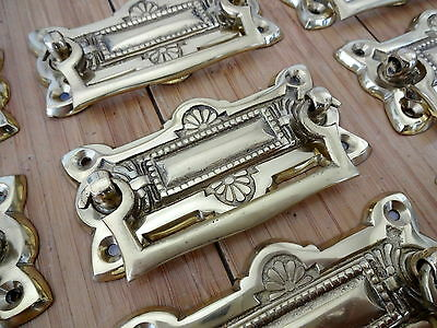 "10 X Ornate Cast Brass Drawer Handle"" Knobs Cupboard Door Pull Knocker Furniture"