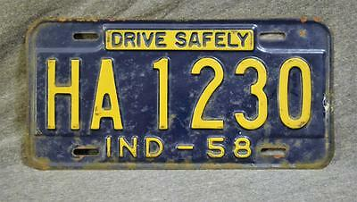 1958 Indiana License Plate HA 1230 Original Untouched Condition