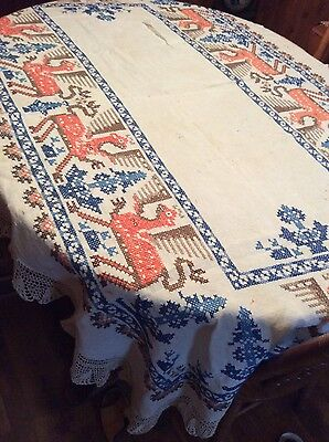 Beautiful Crossstitched Lace trimmed tablecloth vintage Poland
