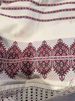 Beautiful red/black table runner Vintage Poland