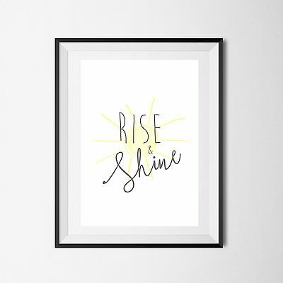 Inspirational Quote Poster Art Print A4 Typography Decor gift wall decor Rise