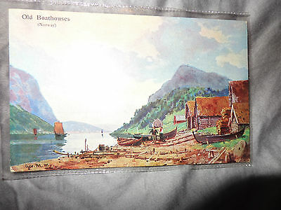 OLD BOATHOUSES Norwegian scenes series 5 postcard BOOTS CASH CHEMISTS 1-J