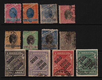 Brazil - 12 early stamps, used - see scan