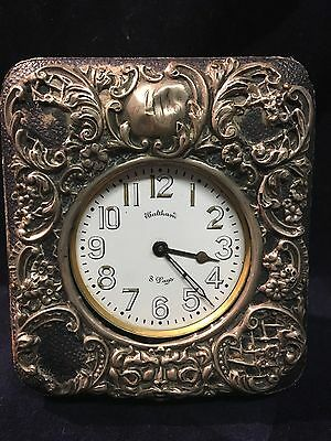 Very Rare Early 1900 's Waltham 8 Day Travel Clock With Exquisite Travel Case