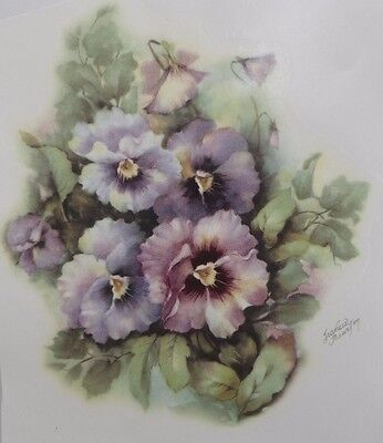 Ceramic Decal  15  x 13.5cm     PANSY MIST   (by    Frances Braxton)