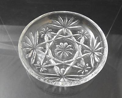 "Vintage Anchor Hocking Coaster Prescut Clear Glass Oatmeal Star Fan 3 3/4"" R33"
