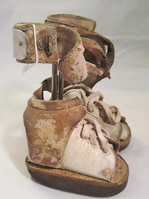 Vintage Baby Polio Braces Small Medical Equipment Surgical White Leather Shoes