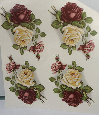 Ceramic Decal   7 x 6.5 cm   Cream & Red Roses  (4 pieces)