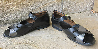 Black & Pewter Kumfs for Othotics Leather Sandals ~ Size 8 - 8.5 XXW