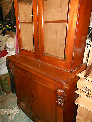 Antique Victorian Bookcase - Display Cabinet With Framed Glass Doors