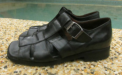 Black KUMFS for Othotics Leather Sandals ~ Size 8 - 8.5 XW