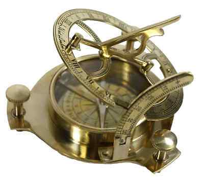 4 Inch Vintage Sundial Compass Maritime Nautical Brass Antique Decor Outdoor Old