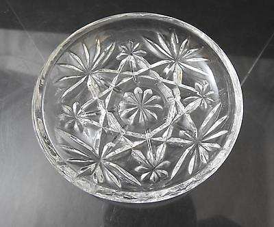 "Vintage Anchor Hocking Coaster Prescut Clear Glass Oatmeal Star Fan 3 3/4"" R40"