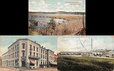 Lot of 3 Early/Vintage Eau Claire, Wisconsin Early 1900s Postcards #45746