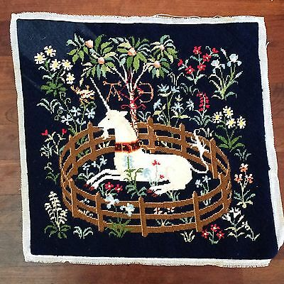 "Vtg Petit Point Needlepoint Unicorn in Captivity EXCELLENT FINISHED 16"" Square"