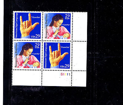 #2783-2784  29 Cents American Sign Language    Mint Vf Nh   Plate Block Of 4