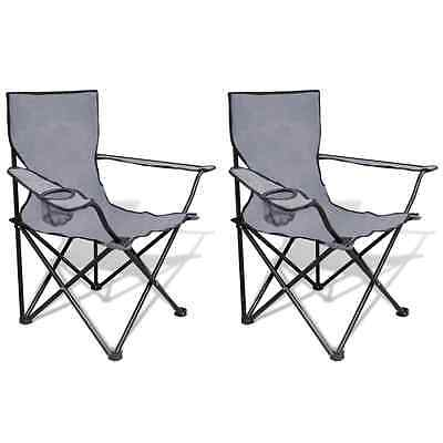 S# New 2pc Grey Portable Fishing Chair Outdoor Camping Seat Folding Hiking Stool