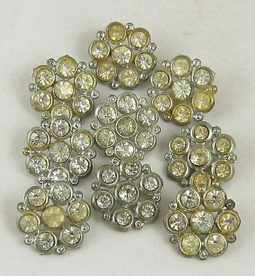 Antique Vintage Metal Rhinestone Buttons Lot ~ Flower Design ~ 9 Matching