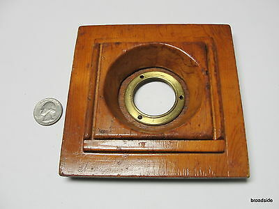 "RARE Wood 5.25 x 5.25"" Square Camera Lens Board w/ brass lens flange - RECESSED"