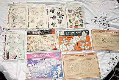 Lot of 13 Vintage Misc.Transfer Sets, Simplicity, Walkers, American Thread Co.