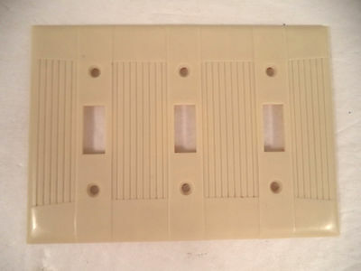 Eagle Tuxedo Ivory vtg mcm bakelite lines triple three gang switch plate cover