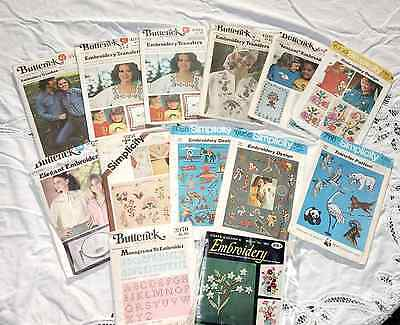 Lot of 13 1970's Packages Embroidery Transfers, Butterick, Simplicity