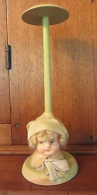 Vintage 1920s Hat Stand with Composition Head - GERMANY?  - Green 9.5-inch