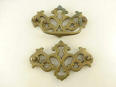 2 Large Vintage BS Brass Tone Drawer Pull Back Plates Architectural Salvage
