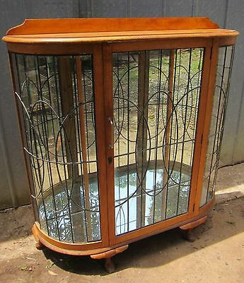 Antique China Collectables Display Cabinet Vintage Timber & Glass Mirrored