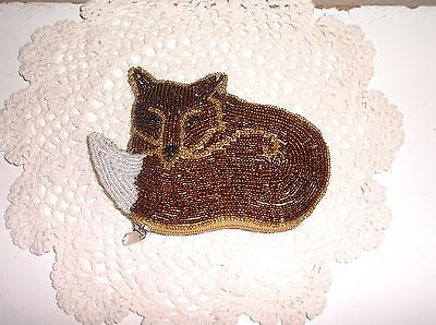 Vintage fox beaded coin purse ~ EXCELLENT condition