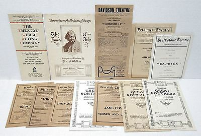 12 Playbills and Programs - Chicago Theatres - 1920's Vintage