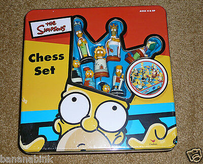 NEW Sealed The Simpsons Chess Set Tin Container