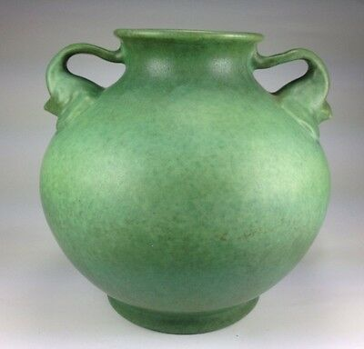 ART DECO SUPERB  Red Wing Art Pottery Elephant Handled Green Vase MATTE FINISH