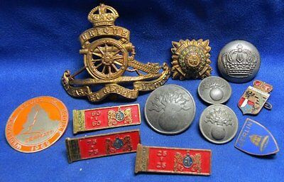 WWI German Army Buttons and WWII British Insignia Lot Of 12