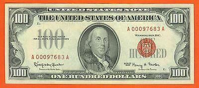 $100 1966 Red Seal BEAUTIFUL AU++ United States Note!
