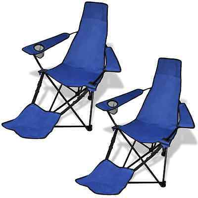 2 pcs Folding Camping Chair Beach Recliner Outdoor Picnic Portable Footrest Blue