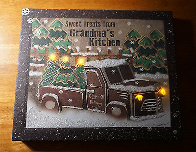 LIGHTED GRANDMA'S GINGERBREAD TRUCK COOKIES Christmas Kitchen Decor Sign NEW