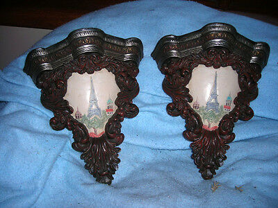 Pair Of Antique French Brackets, Wall Shelfs,  Sconces With Eifel Tower 11X10X5