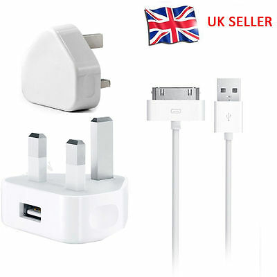 Mains Charger USB Wall Plug+Genuine Data Cable For iPad iPhone4,4s,iPad2,3